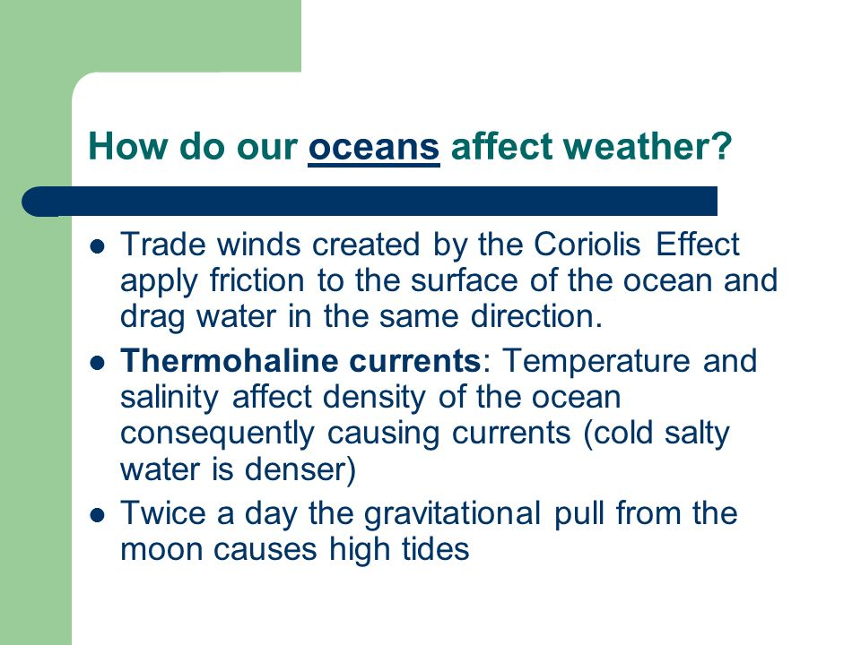 How do our oceans affect weather?oceans Trade winds created by the Coriolis Effect apply friction to the surface of the ocean and drag water in the sa