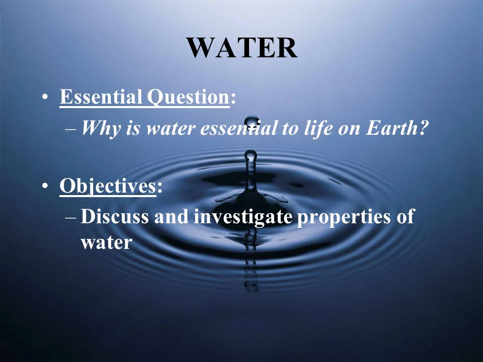 Water Facts Exists in solid, liquid and gas forms Covers 70% - 75% of Earth 4 Oceans: Pacific, Atlantic, Indian, Arctic N.