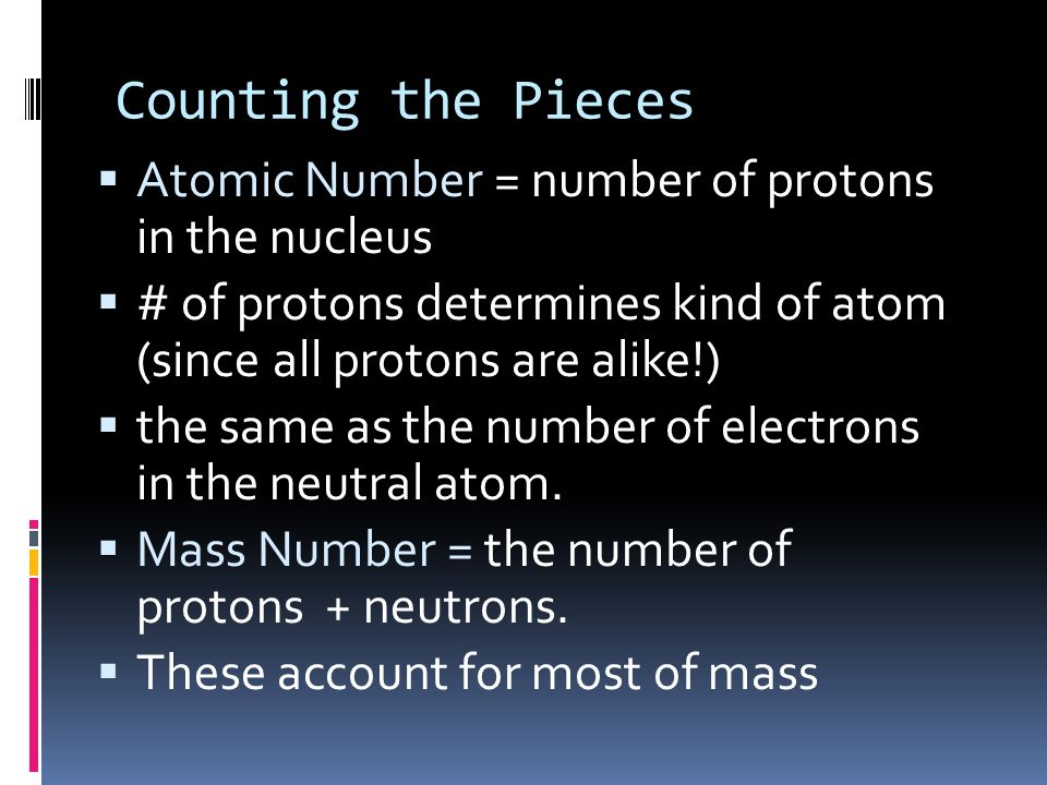 Subatomic particles Electron Proto n Neutro n Nam e SymbolCharge Relative mass Actual mass (g) e-e- p+p+ n0n0 +1 0 1/1840 1 1 9.11 x 10 -28 1.67 x 10
