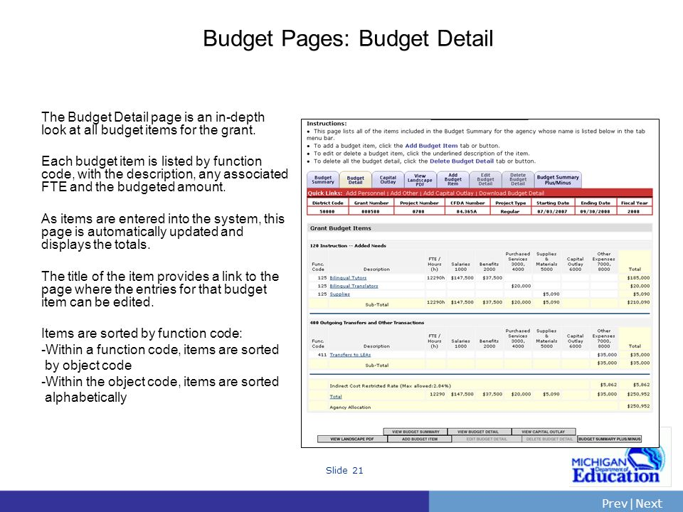 PrevNext | Slide 21 Budget Pages: Budget Detail The Budget Detail page is an in-depth look at all budget items for the grant. Each budget item is list