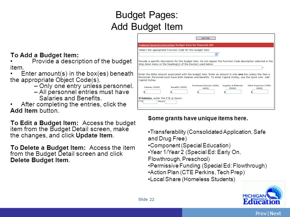 PrevNext | Slide 22 Budget Pages: Add Budget Item To Add a Budget Item: Provide a description of the budget item. Enter amount(s) in the box(es) benea