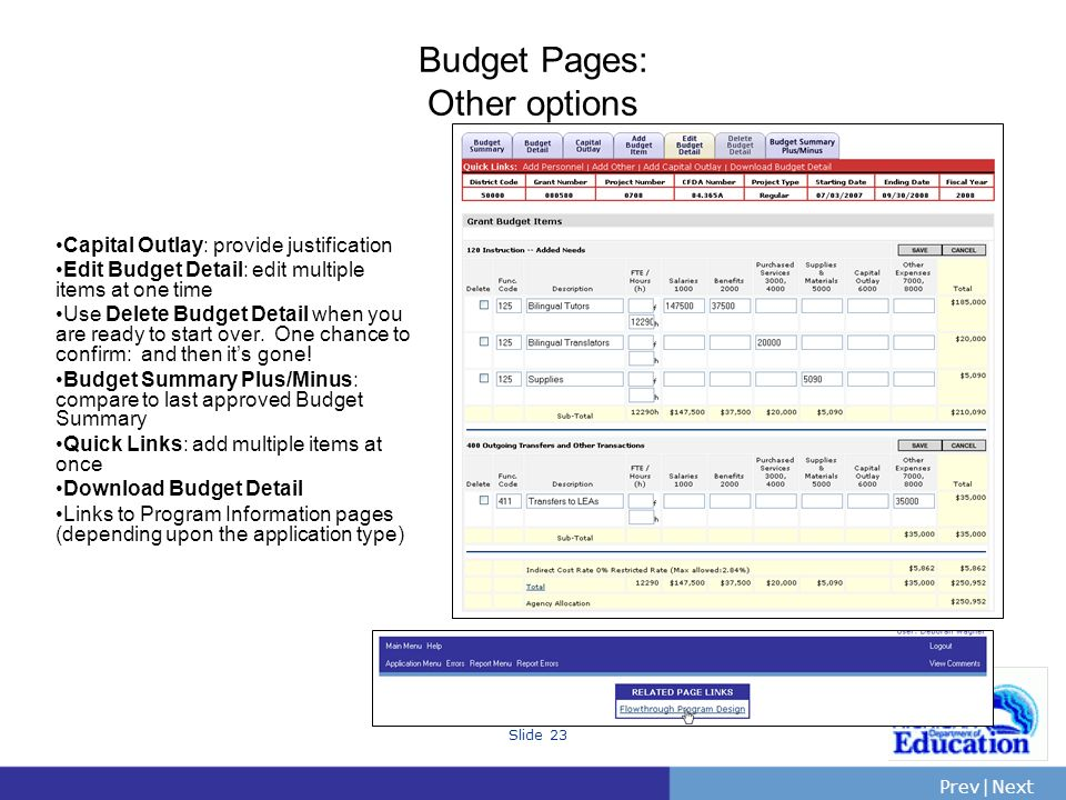 PrevNext | Slide 23 Budget Pages: Other options Capital Outlay: provide justification Edit Budget Detail: edit multiple items at one time Use Delete B