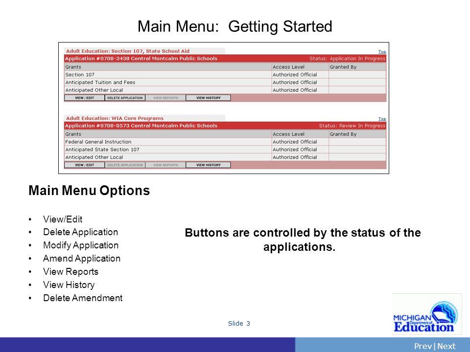 PrevNext | Slide 4 Application Menus Application Menu Header Details Application Information Management Activities General Information Budget Pages Program Information Attachments Submitting the Application All applications have a similar look.