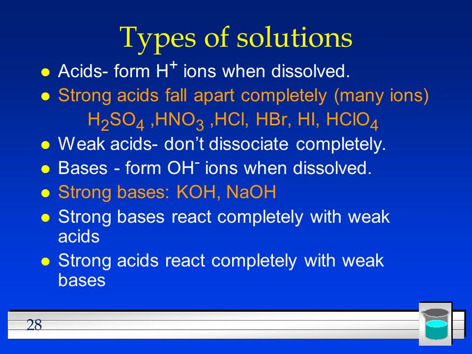 28 Types of solutions l Acids- form H + ions when dissolved. l Strong acids fall apart completely (many ions) H 2 SO 4,HNO 3,HCl, HBr, HI, HClO 4 l We
