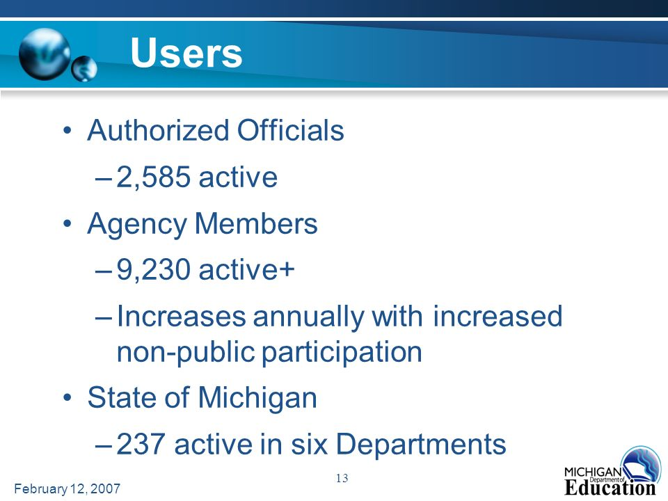 February 12, 2007 13 Users Authorized Officials –2,585 active Agency Members –9,230 active+ –Increases annually with increased non-public participation State of Michigan –237 active in six Departments