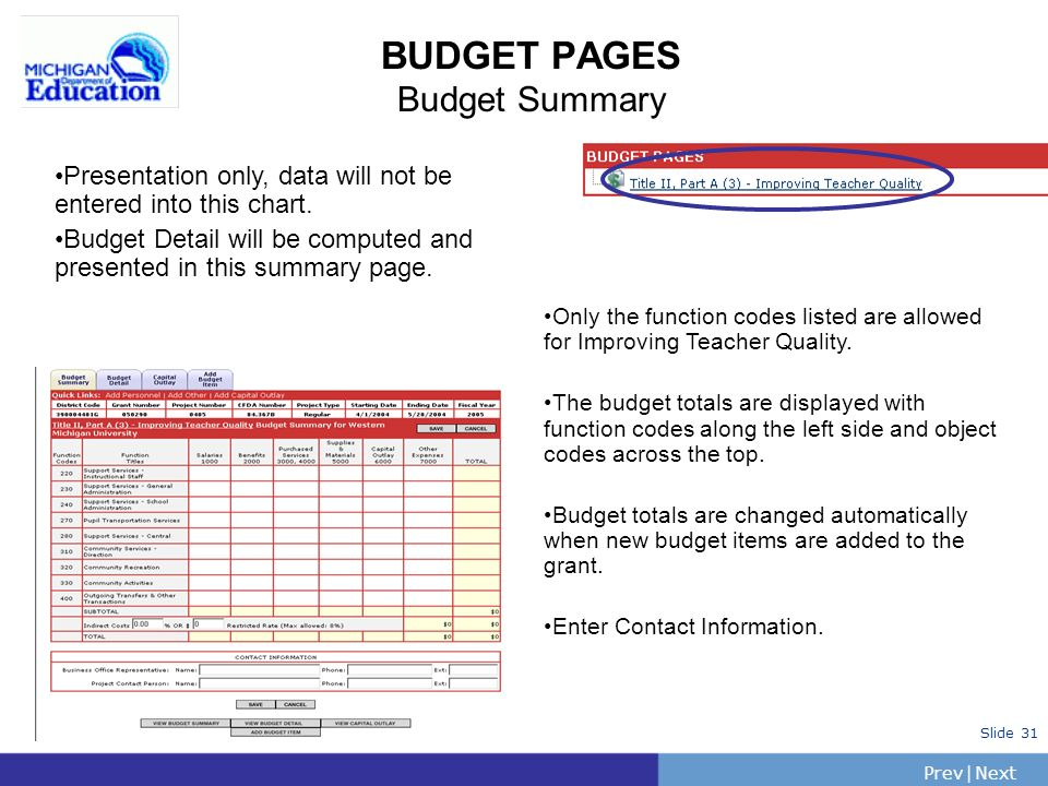 PrevNext | Slide 31 BUDGET PAGES Budget Summary Only the function codes listed are allowed for Improving Teacher Quality.