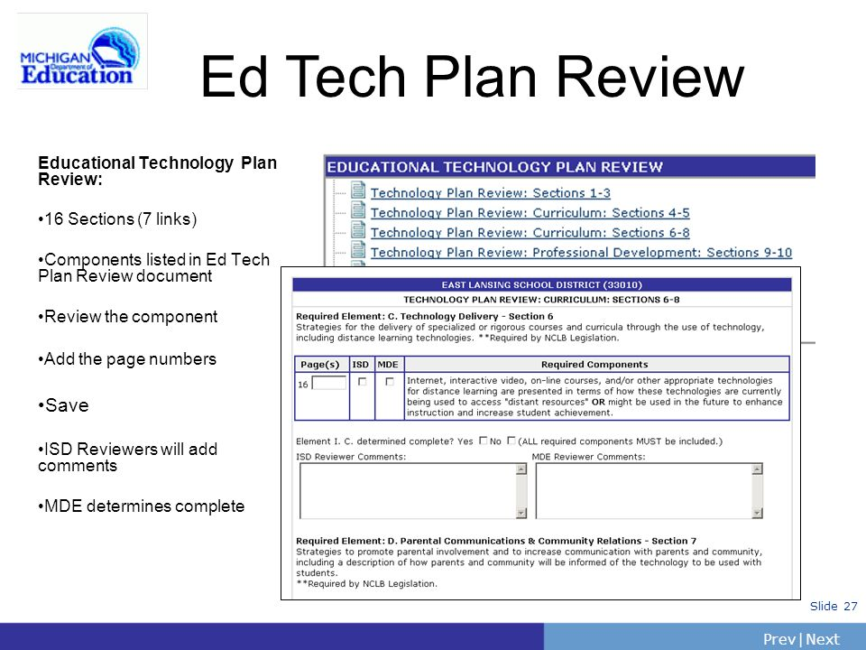PrevNext | Slide 27 Ed Tech Plan Review Educational Technology Plan Review: 16 Sections (7 links) Components listed in Ed Tech Plan Review document Re