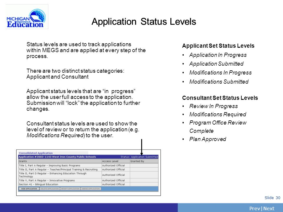 PrevNext | Slide 30 Application Status Levels Status levels are used to track applications within MEGS and are applied at every step of the process. T