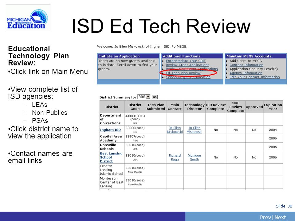 PrevNext | Slide 38 ISD Ed Tech Review Educational Technology Plan Review: Click link on Main Menu View complete list of ISD agencies: –LEAs –Non-Publ