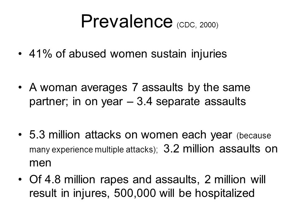 41% of abused women sustain injuries A woman averages 7 assaults by the same partner; in on year – 3.4 separate assaults 5.3 million attacks on women