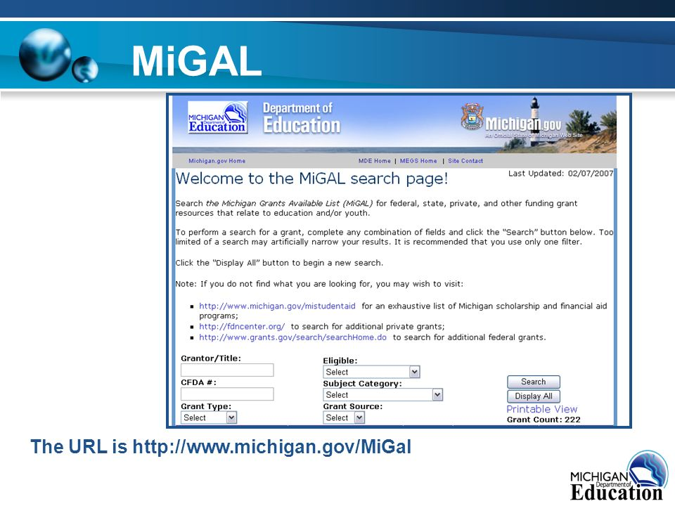 MiGAL The URL is