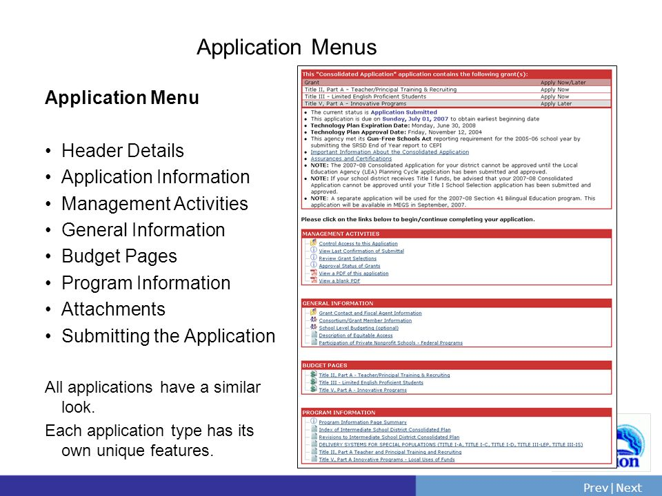 PrevNext | Slide 31 Application Menus Application Menu Header Details Application Information Management Activities General Information Budget Pages Program Information Attachments Submitting the Application All applications have a similar look.