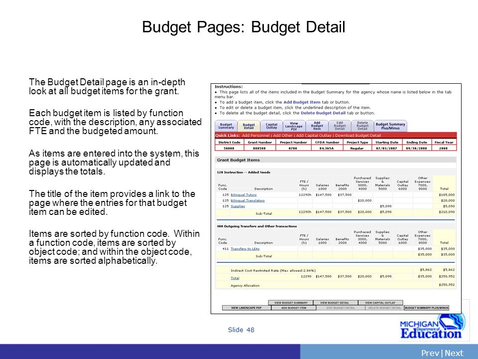 PrevNext | Slide 48 Budget Pages: Budget Detail The Budget Detail page is an in-depth look at all budget items for the grant.