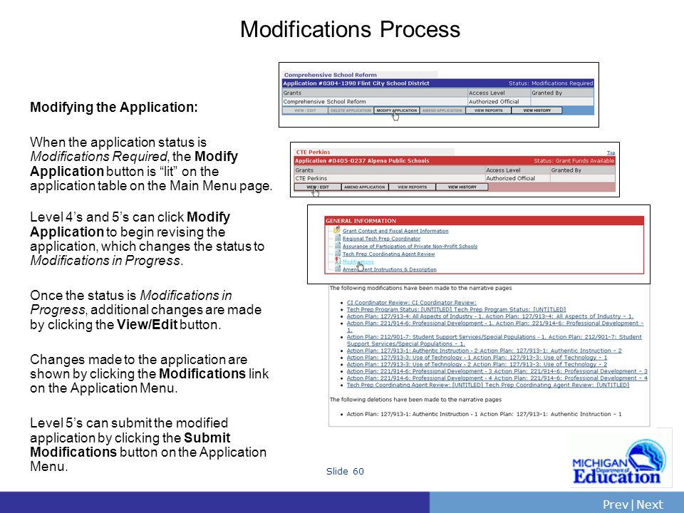 PrevNext | Slide 60 Modifications Process Modifying the Application: When the application status is Modifications Required, the Modify Application button is lit on the application table on the Main Menu page.