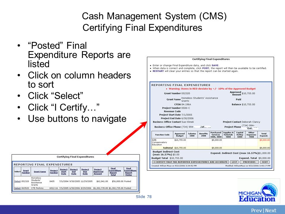 PrevNext | Slide 78 Cash Management System (CMS) Certifying Final Expenditures Posted Final Expenditure Reports are listed Click on column headers to sort Click Select Click I Certify… Use buttons to navigate