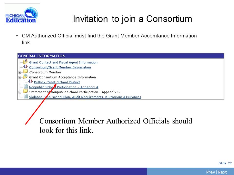PrevNext | Slide 22 Invitation to join a Consortium Consortium Member Authorized Officials should look for this link.