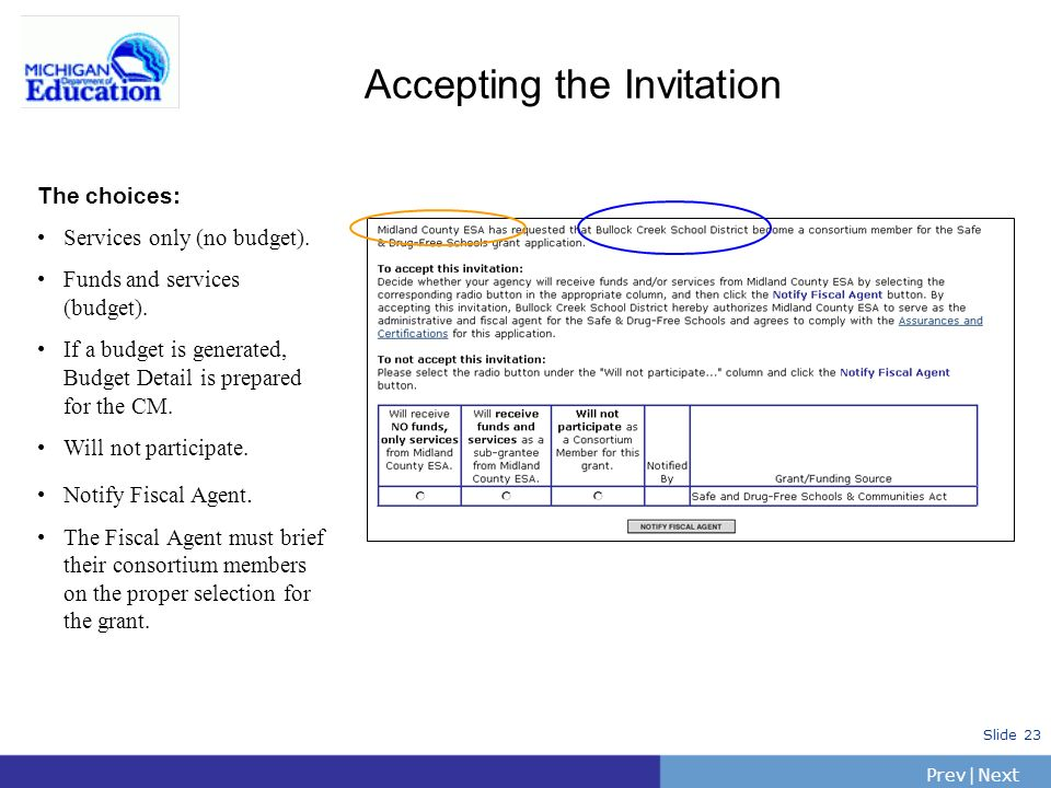 PrevNext   Slide 23 The choices: Services only (no budget).