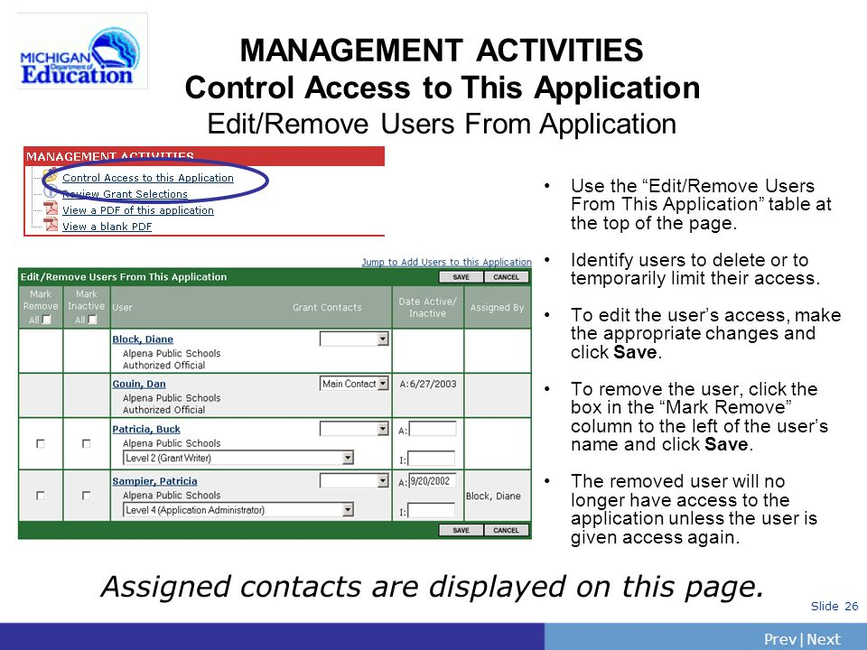PrevNext | Slide 26 MANAGEMENT ACTIVITIES Control Access to This Application Edit/Remove Users From Application Use the Edit/Remove Users From This Application table at the top of the page.