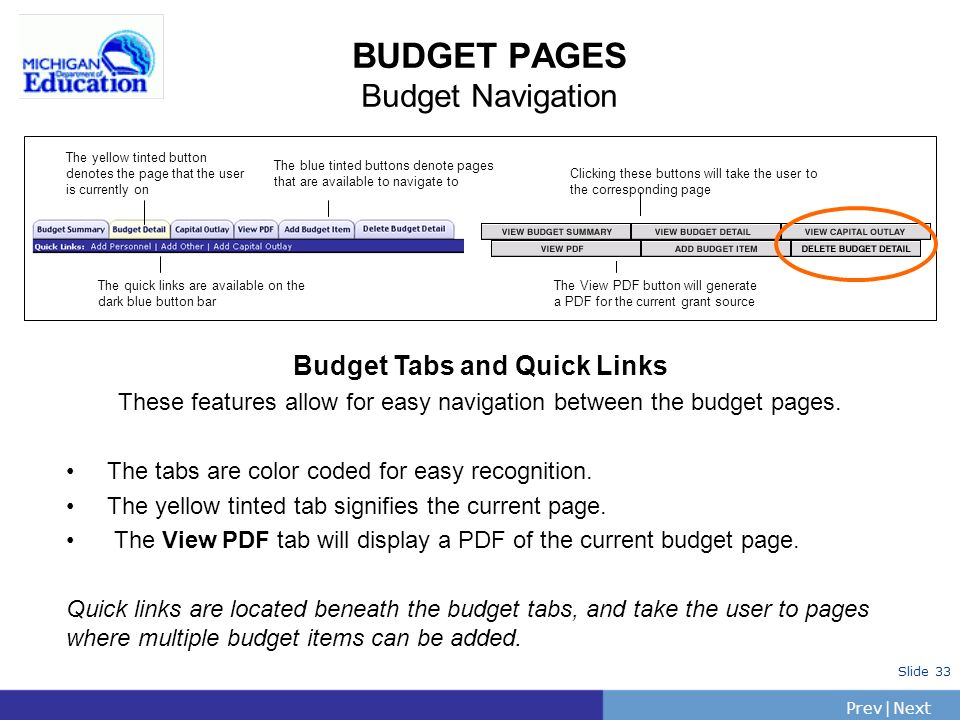 PrevNext | Slide 33 BUDGET PAGES Budget Navigation The yellow tinted button denotes the page that the user is currently on The blue tinted buttons denote pages that are available to navigate to The View PDF button will generate a PDF for the current grant source Clicking these buttons will take the user to the corresponding page The quick links are available on the dark blue button bar Budget Tabs and Quick Links These features allow for easy navigation between the budget pages.
