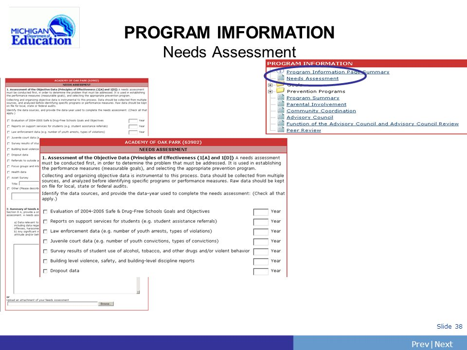 PrevNext | Slide 38 PROGRAM IMFORMATION Needs Assessment
