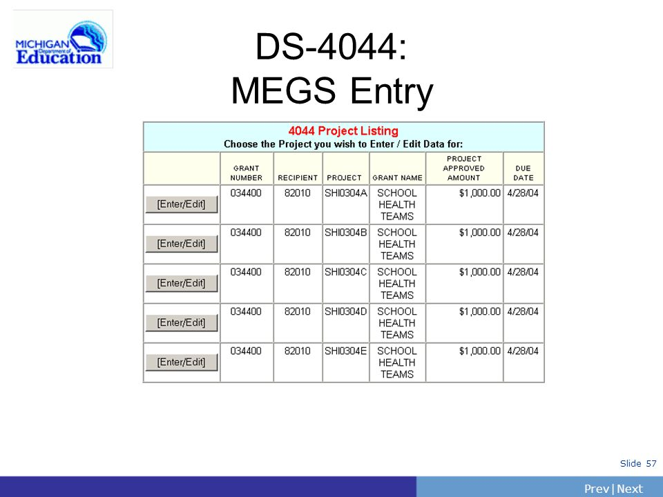 PrevNext | Slide 57 DS-4044: MEGS Entry
