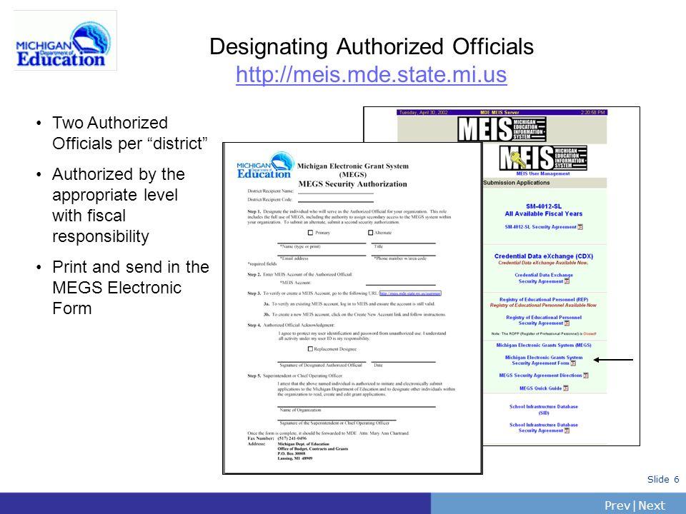 PrevNext | Slide 57 DS-4044: MEGS Entry