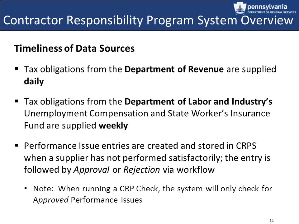 13 Contractor Responsibility Program System Overview 3.CRPS User Execute CRP Checks and Searches Search for and view Approved and Resolved Performance Issues Generate reports