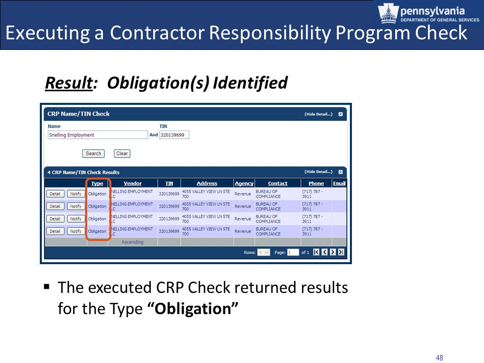 47 Executing a Contractor Responsibility Program Check Select: Back to CRP Check link to return to CRPS