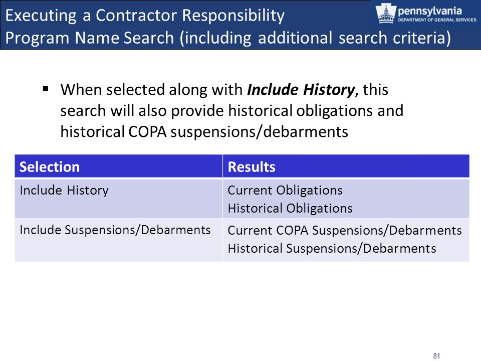 80 Executing a Contractor Responsibility Program Name Search (including additional search criteria) When selected independently, Include Suspensions/Debarments will provide current obligations as well as current COPA suspensions and/or debarments Note: Federal Suspension/Debarment results are not included because SAM requires a Name and TIN SelectionResults Include Suspensions/DebarmentsCurrent Obligations Current COPA Suspensions/Debarments