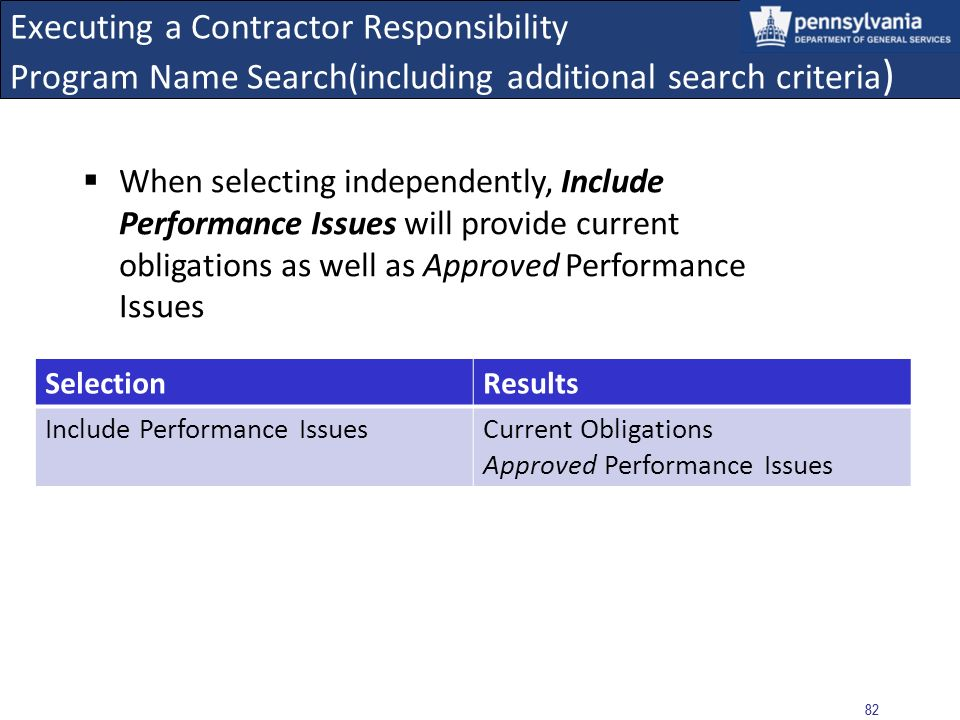 81 Executing a Contractor Responsibility Program Name Search (including additional search criteria) When selected along with Include History, this search will also provide historical obligations and historical COPA suspensions/debarments SelectionResults Include HistoryCurrent Obligations Historical Obligations Include Suspensions/Debarments Current COPA Suspensions/Debarments Historical Suspensions/Debarments