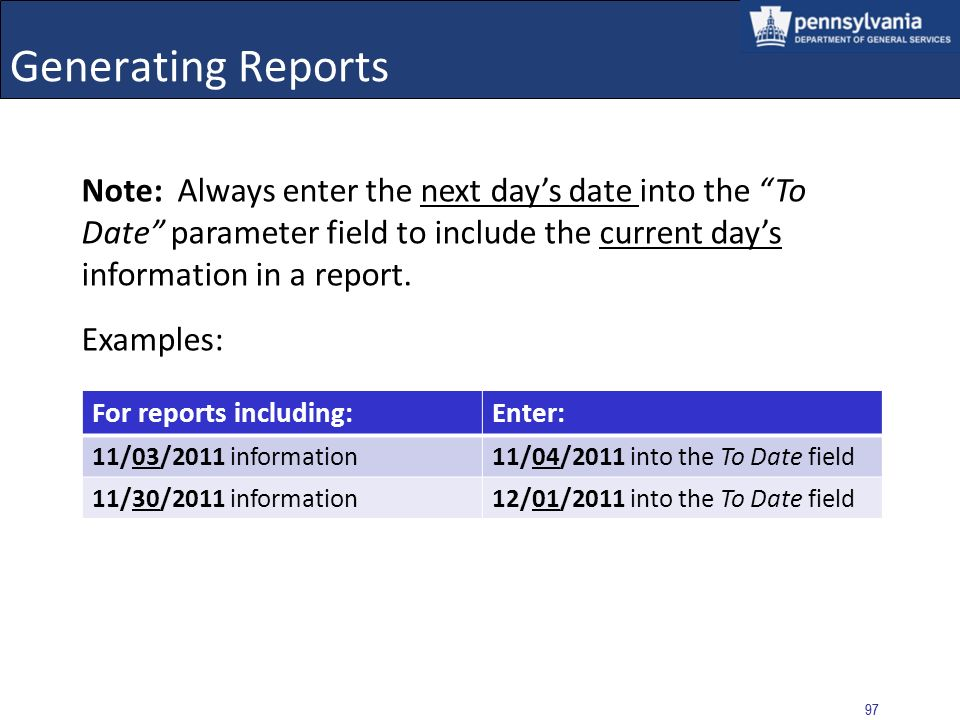96 Generating Reports Select the VIEW REPORT button History of CRP Checks for a Specific User and Vendor The required parameters are: From Date, To Date, Vendor Name, Vendor SSN/EIN, and User Name