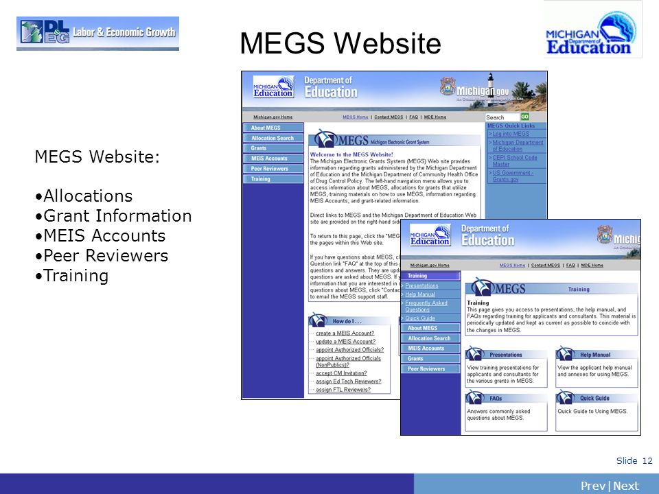 PrevNext   Slide 12 MEGS Website MEGS Website: Allocations Grant Information MEIS Accounts Peer Reviewers Training