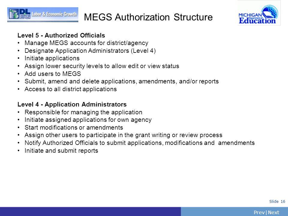 PrevNext   Slide 16 MEGS Authorization Structure Level 5 - Authorized Officials Manage MEGS accounts for district/agency Designate Application Adminis
