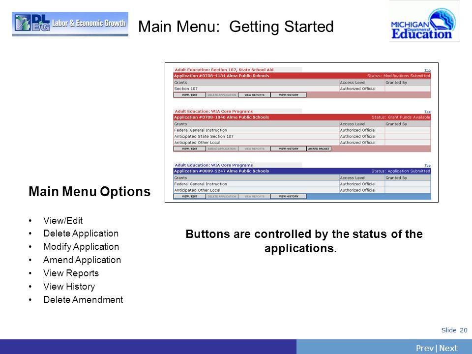 PrevNext   Slide 20 Main Menu: Getting Started Main Menu Options View/Edit Delete Application Modify Application Amend Application View Reports View H