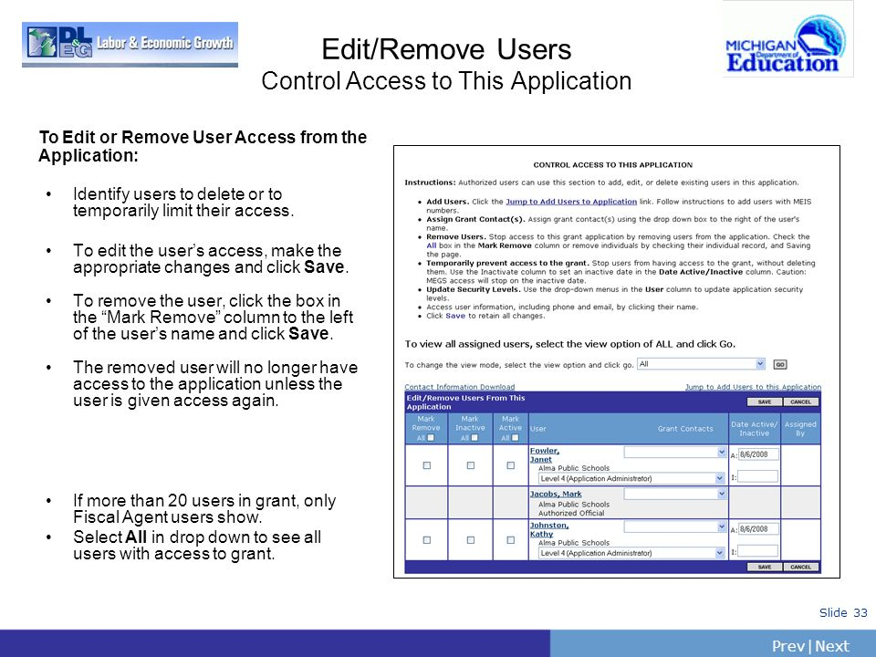 PrevNext   Slide 33 Edit/Remove Users Control Access to This Application Identify users to delete or to temporarily limit their access. To edit the us