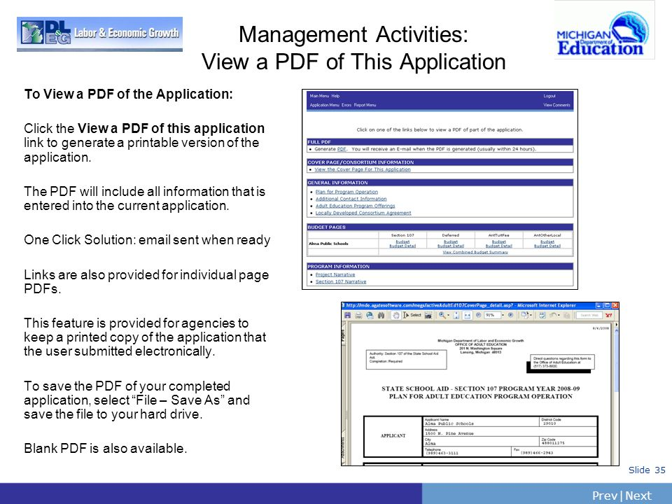 PrevNext   Slide 35 Management Activities: View a PDF of This Application To View a PDF of the Application: Click the View a PDF of this application l