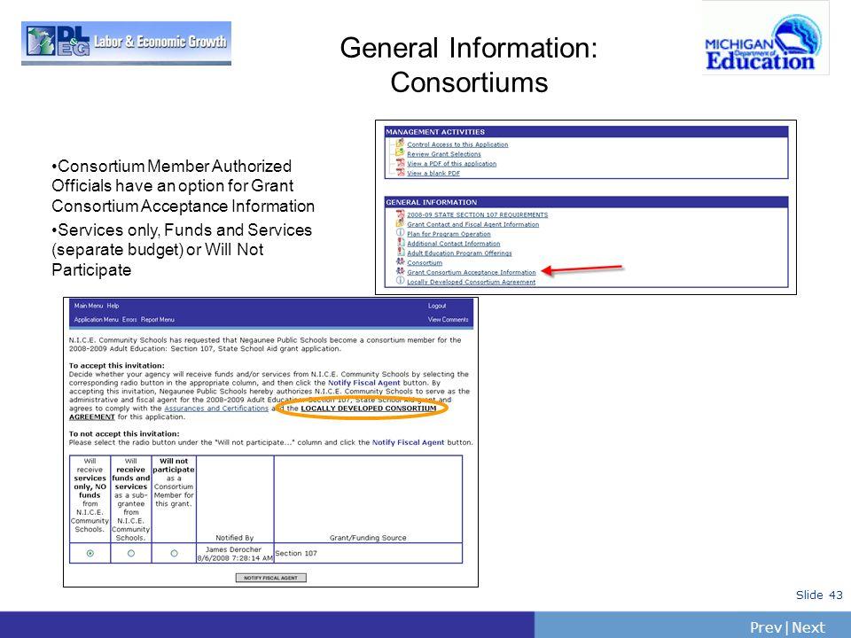 PrevNext   Slide 43 General Information: Consortiums Consortium Member Authorized Officials have an option for Grant Consortium Acceptance Information