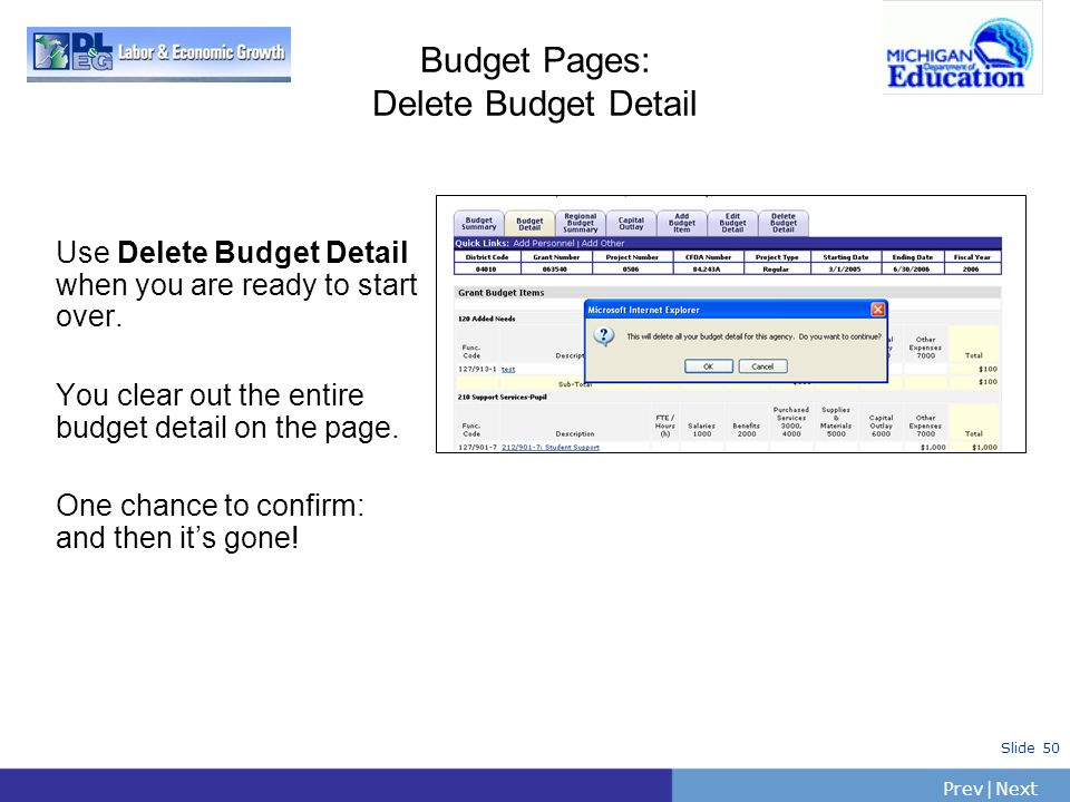 PrevNext   Slide 50 Budget Pages: Delete Budget Detail Use Delete Budget Detail when you are ready to start over. You clear out the entire budget deta