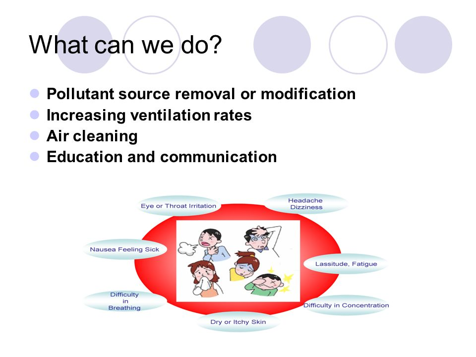 What can we do? Pollutant source removal or modification Increasing ventilation rates Air cleaning Education and communication