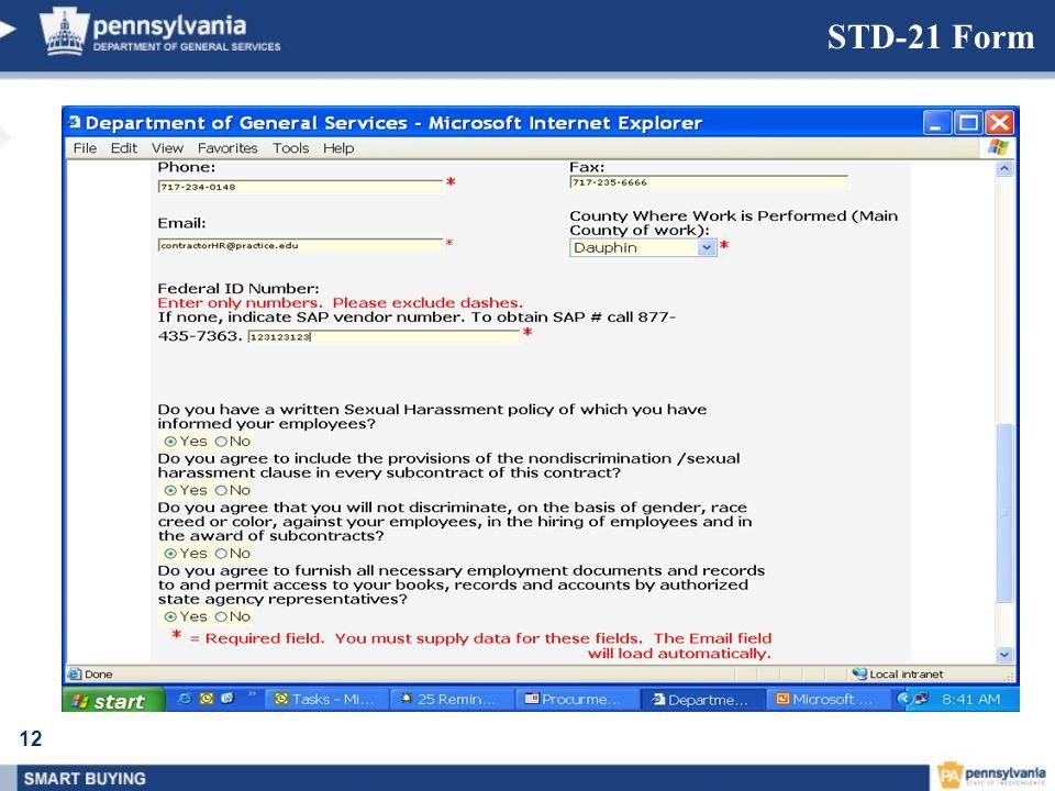 12 STD-21 Form