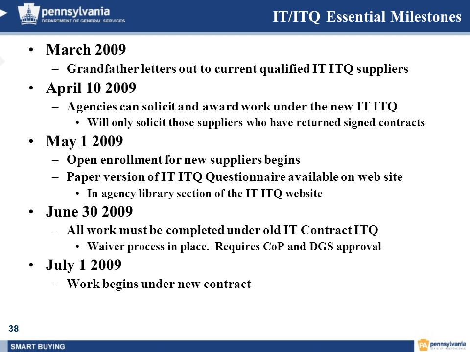 38 IT/ITQ Essential Milestones March 2009 –Grandfather letters out to current qualified IT ITQ suppliers April 10 2009 –Agencies can solicit and award