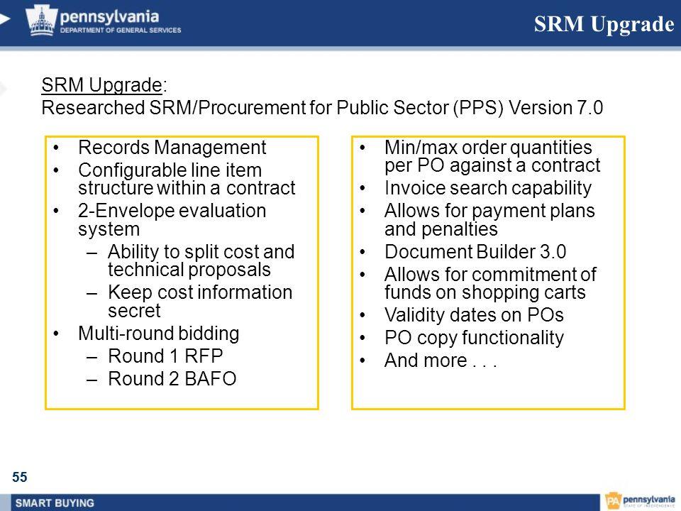 55 SRM Upgrade SRM Upgrade: Researched SRM/Procurement for Public Sector (PPS) Version 7.0 Records Management Configurable line item structure within