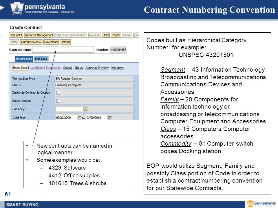 61 Contract Numbering Convention New contracts can be named in logical manner Some examples would be: –4323 Software –4412 Office supplies –101615 Tre