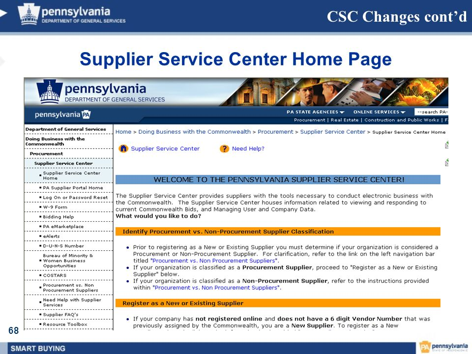 68 CSC Changes contd Supplier Service Center Home Page