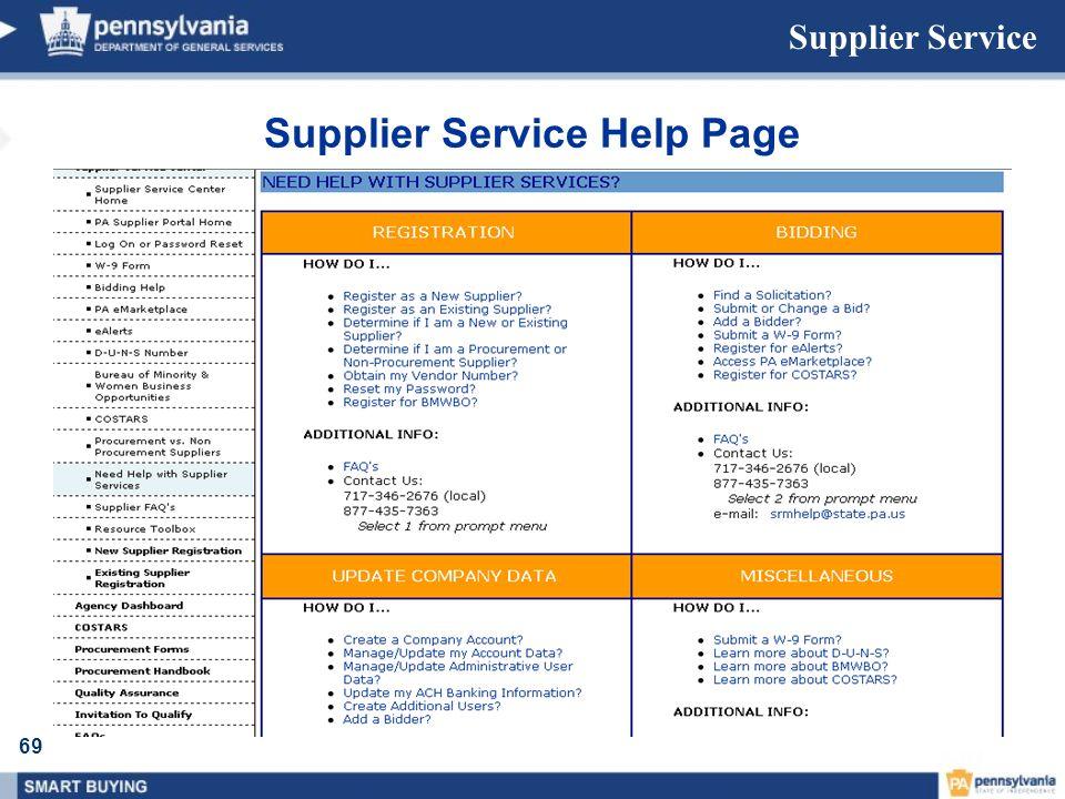 69 Supplier Service Supplier Service Help Page