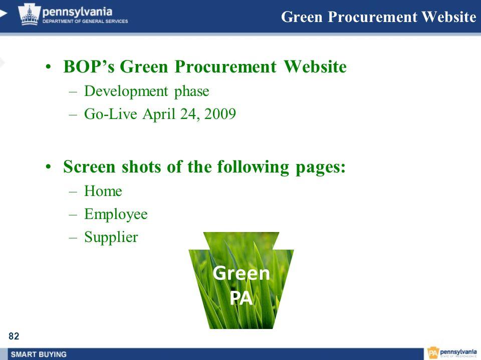 82 Green Procurement Website BOPs Green Procurement Website –Development phase –Go-Live April 24, 2009 Screen shots of the following pages: –Home –Emp