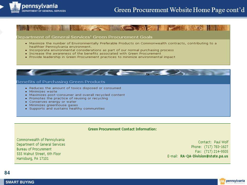 84 Green Procurement Website Home Page contd