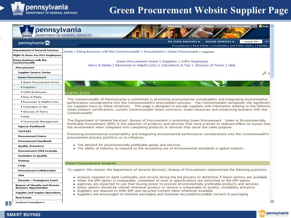 85 Green Procurement Website Supplier Page