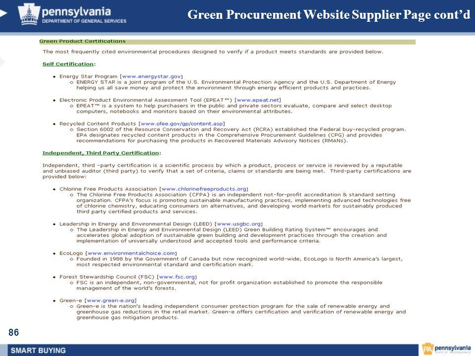86 Green Procurement Website Supplier Page contd