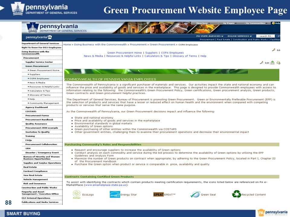 88 Green Procurement Website Employee Page